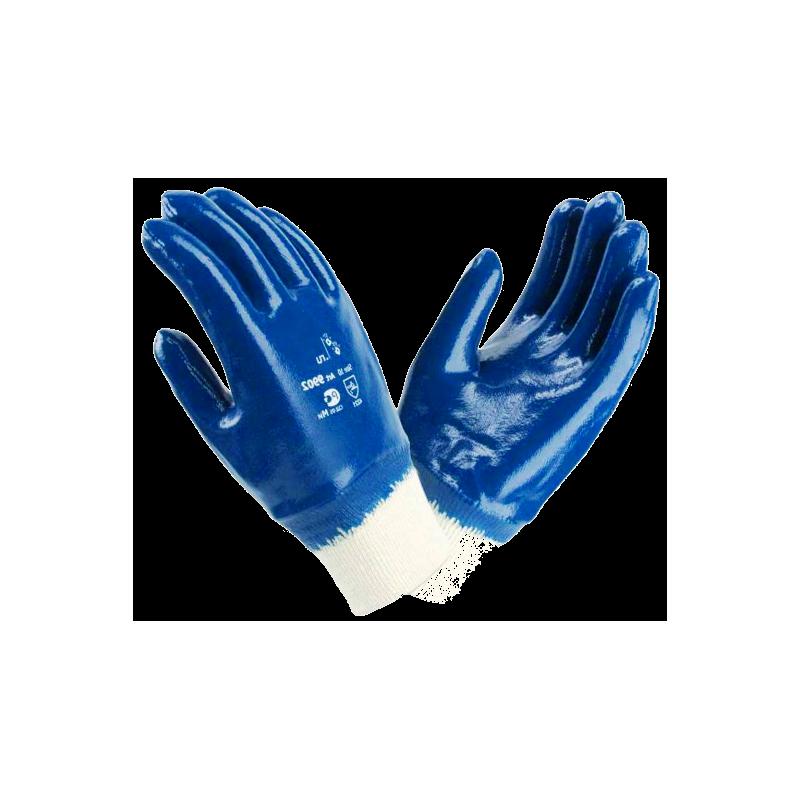 Перчатки нитриловые, манжет - резинка. Полный облив. Синие.