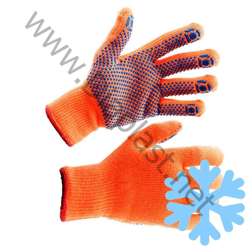 Перчатки рабочие, утепленные акриловые с начёсом и ПВХ нанесением «Точка». Цвет – оранжевый.
