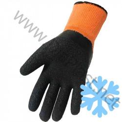 : Перчатки рабочие, утепленные акриловые с начёсом и рельефным ПВХ обливом. Цвет – оранжевый.