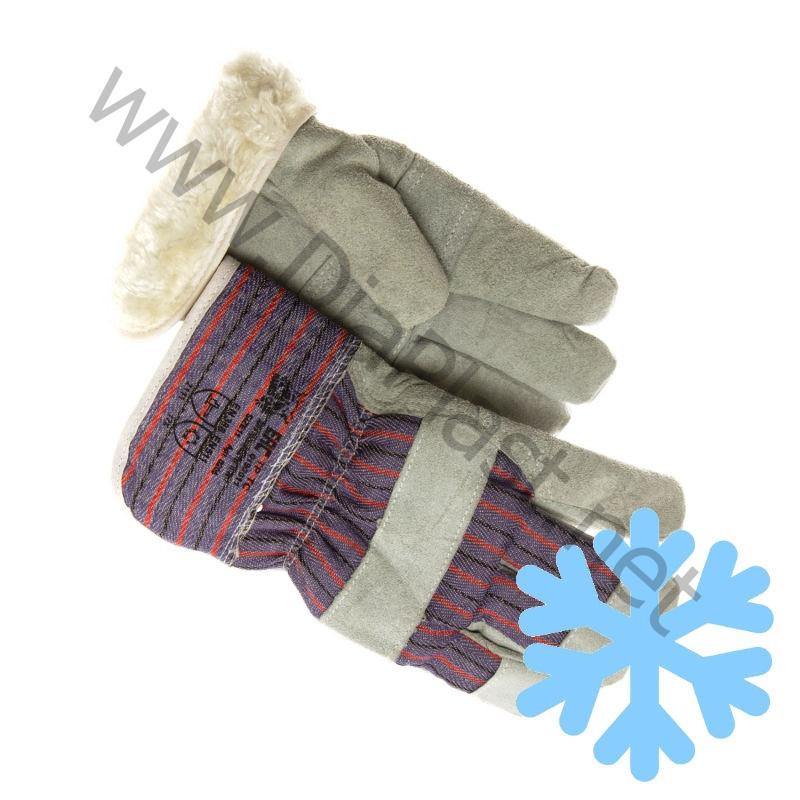 Перчатки спилковые комбинированные «Ангара» утепленные искусственным мехом.