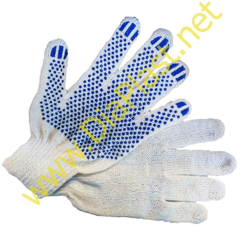 Рабочие перчатки трикотажные ХБ с ПВХ, 6 нитей, 10-й класс.