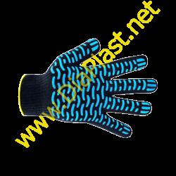 Рабочие перчатки трикотажные ХБ с ПВХ «Волна», цвет – черный, 5 нитей, 7,5 класс вязки.