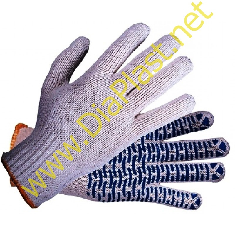 Рабочие перчатки трикотажные ХБ с ПВХ «Волна» ЛЮКС, цвет – белый, 5 нитей, 7,5 класс вязки.