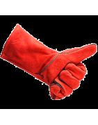 Перчатки спилковые комбинированные, пятипалые краги сварщика «Трек»